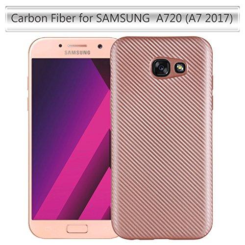 Galaxy J5 2017 SM-J520F Hülle,Kratzfeste Silikon Hülle TPU Schutzhülle Tasche Hülle Stoßdämpfung und Carbon Faser für Galaxy J5 2017 SM-J520F Silber Gold