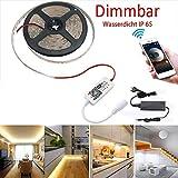IP 65 wasserdicht Dimmbar 5m LED Streifen Set 300 LEDs Lichtband mit 3A Netzteil, 2835 SMD Strip Kit Licht Band Leiste Lichtleiste, 3000K Warmweiß