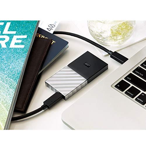 WD My Passport SSD 512 GB, Mobile SSD Festplatte, USB C / 3.1 Gen 2 Ready; Kennwortschutz und Software für automatische Datensicherung, schwarz/silber metallic