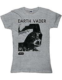 La Guerra de las Galaxias - Camiseta Star Wars para chica - Darth Vader - Gris - L