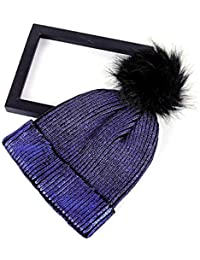Unisex Moda Mujeres Niñas Tejidos Coloridos Bronzing Gold Lana Sombrero De  Punto Sombrero De Invierno Para La Mujer Bola Plata Gorros… 6afedbd2c41