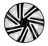 PREMIUM Radkappen Radzierblenden Radblenden 'Modell: Cykron' 4er Set, Farbe: Schwarz-Weiß, Felgendurchmesser:15 Zoll
