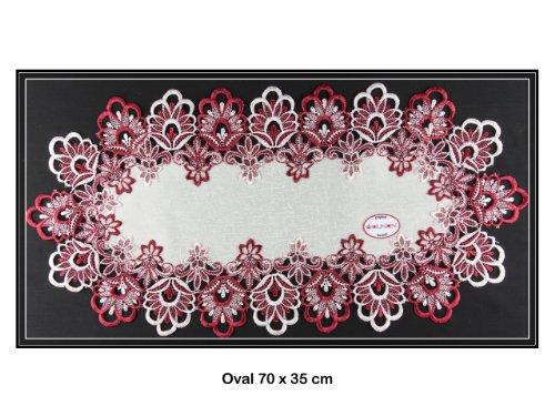 Tischdecke Deckchen, Tischläufer mit Spitze von SOUNON® - Oval 70 x 35 cm (Model 001) (60 X 40 Tischdecke)
