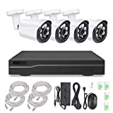 sibo® 4CH 1080P H.264 NVR Home Video Surveillance Security Cameras System with 4 channels HD 2.0MP Weatherproof Night vision Indoor/Outdoor CCTV House Surveillance Camera,Quick Remote Access Setup Free App SB-4CH1080P-POEKIT