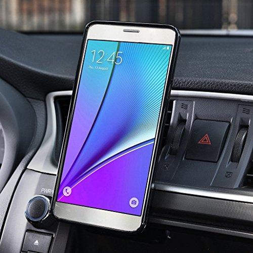 Kroo Support magnétique pour grille d'aération auto pour smartphone universel pour smartphones de Samsung Galaxy note5Étui rouge - Rouge/noir rouge - Rouge/noir