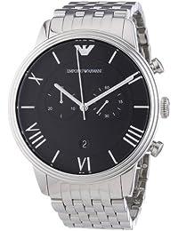 Emporio Armani AR1617 - Reloj cronógrafo de cuarzo para hombre, correa de acero inoxidable color plateado