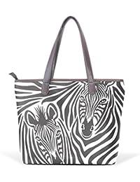 COOSUN Résumé Zebra grand fourre-tout en cuir PU poignée Sacs à bandoulière Sac fourre-tout L (33x45x13) cm # 001 multicouleur