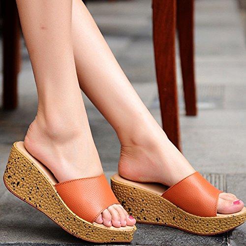 ZHANGRONG-- Sandales pantoufles d'été Chaussons en muffins en cuir féminin Pente extérieure avec pantoufles de mode Chaussons épais (4 couleurs en option) (taille facultative) ( Couleur : A , taille : D
