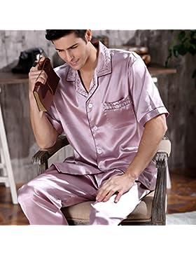 Pijamas de seda Mangeoo Primavera manga larga para hombre Dos trajes de sección delgada Verano primavera y días...