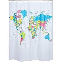 Cortina de baño mapa mundi.