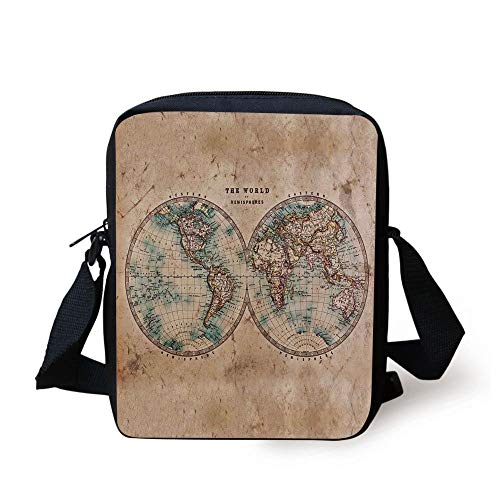 Tan-world-design (CBBBB World Map,The World in Hemispheres Vintage Old Map Design Geography History Theme,Burly Wood Tan Blue Print Kids Crossbody Messenger Bag Purse)