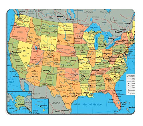Tappetino per mouse personalizzato,United States Map Non-Slip Thick Rubber Mouse pad,9.5 X 7.9 Inch (240mmX200mmX3mm),