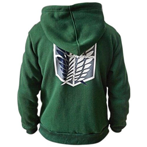 Scouting Legione Hoodie - SODIAL(R)L'attacco Dei Giganti Shingeki Nessun Cosplay Kyojin Scouting Legione Hoodie £¨Verde S£© Verde