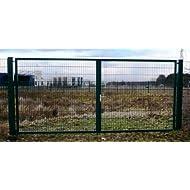 Hochwertiges, 2-flügeliges Industrietor / Einbau-Breite: 7m - Einbau-Höhe: 2m - Rahmen: 60 x 30mm / Rahmen grün beschichtet / Doppeltor Gartentor
