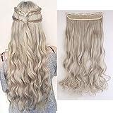 S-S-noilite 60cm Clip-In capelli parte 3/4parrucca clip in extension capelli ricci ondulato un Tresse capelli (Grigio Biondo Mix Grigio Argento)