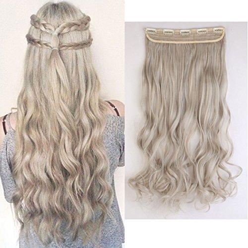 S-noilite® 60 cm Clip-in Haarteil 3/4 Perücke Clip in Extensions Haarverlängerung Gelockt Wellig Ein Tresse Haar(Graublond mix Silbergrau)