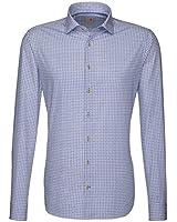 Seidensticker Herren Langarm Hemd Schwarze Rose Slim Fit blau / weiß kariert 240258.15