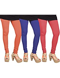 CAY 100% Cotton Combo of Pink, Orange and Blue Color Plain, Stylish & Most Comfortable Leggings For Girls & Women with Full Length (SIZE : Free Size)