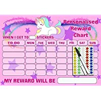 kids2learn Girls Personalised Re-usable UNICORN Reward Chart , 90 Stickers and Pen - Encourage good behaviour - Household Chores - Bedtime Routine