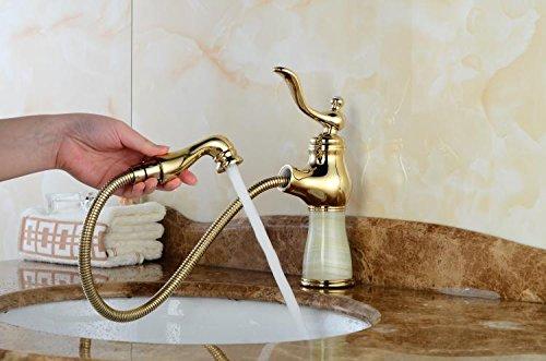Gyps Faucet Waschtisch-Einhebelmischer Waschtischarmatur BadarmaturTippen Sie auf Das Kalte Wasser Ballon Shampoo Grüne Jade Marmortisch Becken Voll Kupfer Gold Waschtisch Armatur Gold Grün Jade,
