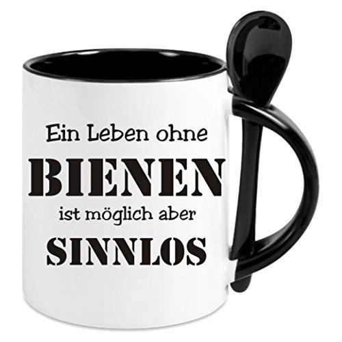 Kaffeetasse m. Löffel - 'Ein Leben ohne Bienen ist sinnlos' - Kaffeetasse mit Motiv, bedruckte...