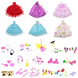 #4: MagiDeal 6 Pieces Fashion Wedding Dresses Party Dresses Clothes Gown + 80Pcs Doll Accessories Shoes Glasses for Barbie Dolls Girls Toys Xmas Gifts