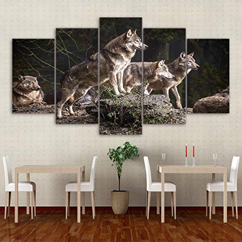 mmwin Poster per Quadri su Tela Kitchen Restaurant Decor 5 Pezzi Animal Forest Wolf Modern Living Room Poster Stampato HD
