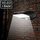 EMIUP Luci Solari Giardino, 30 LED LampadaSolare Motion Sensore Luci di Sicurezza Senza fili Impermeabile Luminoso per Esterni, Pareti, Giardino, Terazzo, Cortile (1 pacco)