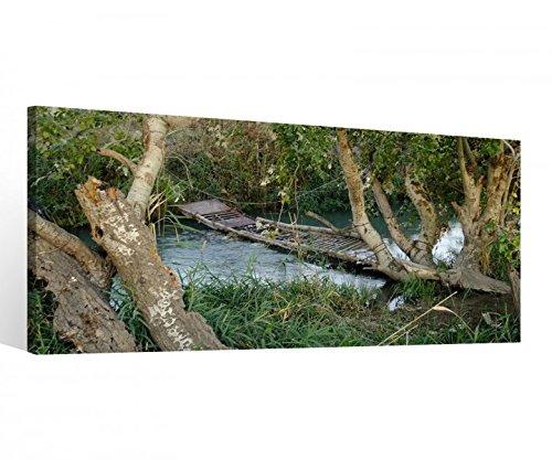 Leiter Gerahmt (Leinwand 1 Tlg Wald Bach Brücke Leiter Fluss Bilder Wandbild aufgespannt 9B925 Holz - fertig gerahmt-direkt vom Hersteller, 1 Tlg BxH:80x40cm)