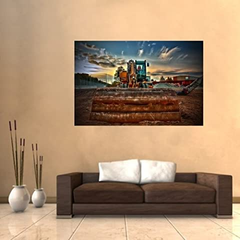 malango® Wandbild Bagger Wandtattoo Tattoo Bild Wand Dekoration Styling Design Aufkleber Wandaufkleber 20 x 30 cm digitalgedruckt digitalgedruckt 20 x 30