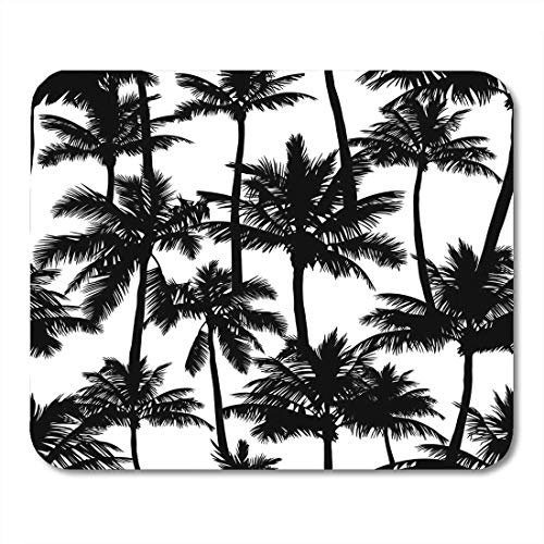 Deglogse Gaming-Mauspad-Matte, Silhouette Tropical Black Palm Trees White Perfect Giftwrap Coconut Swimwear Mouse Pad -
