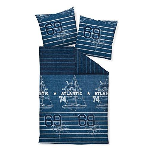 maritime bettwasche janine mako satin 2 teilig bettbezug 135 x 200 cm kopfkissenbezug 80 j d 87027 02 blau anker