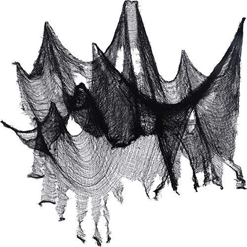 Jovitec 4 Packung Halloween Gruselige Tuch, 30 x 72 Zoll Freaky lose Weben Gruselige Stoff Stoff Scary Spooky Halloween Dekoration, schwarz