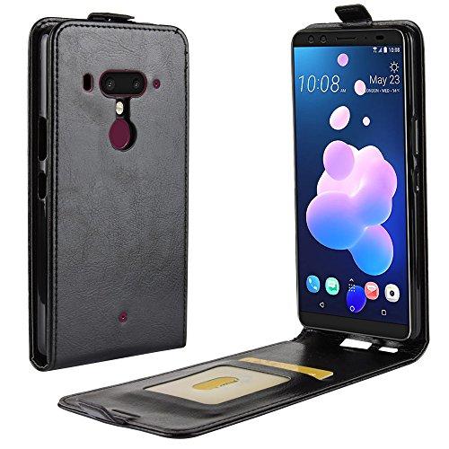 HTC U12 Plus Case, Premium PU Leather Wallet Pouch Flip Cover Case Anti-Scratch Defender CoverCase for for HTC U12 Plus (Black) Htc Touch Defender Case