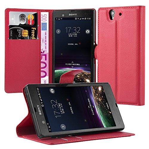 Cadorabo Hülle für Sony Xperia Z (1.Gen.) Hülle in Karmin Rot Handyhülle mit Kartenfach und Standfunktion Case Cover Schutzhülle Etui Tasche Book Klapp Style Karmin-Rot