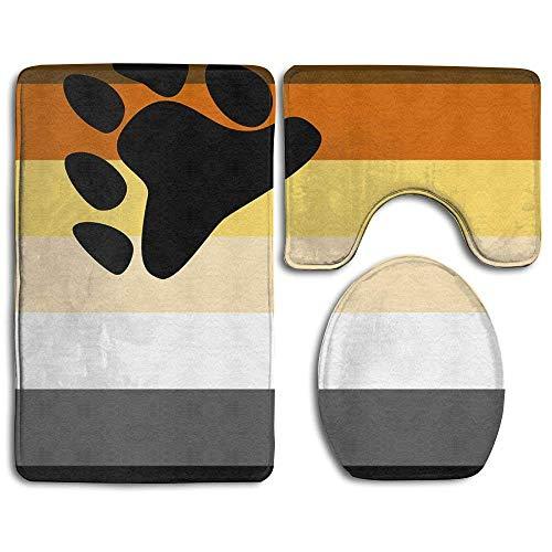 Bear Pride Flag Non-Slip Toilet Rug Sets 3 Pcs Bathroom Mats Rug Lid Toilet Cover -
