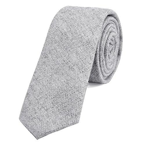 DonDon Herren Krawatte 6 cm Baumwolle grau-weiß Fischgrätenmuster (Smoking Baumwolle)