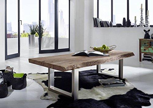 Table basse 160x70cm - Fer et Bois massif d'acacia laqué (Natural Stone) - FREEFORM #121