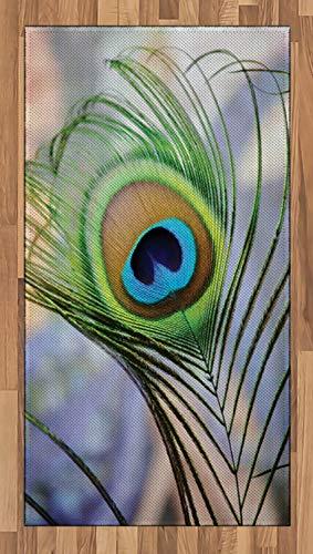 ABAKUHAUS Pfau Teppich, Bäume Vögel und Feder, Deko-Teppich Digitaldruck, Färben mit langfristigen Halt, 80 x 150 cm, Mehrfarbig (Pfau-farben-teppich)