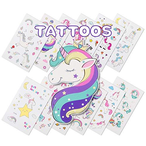 Kesote Einhorn Tattoos Set, 12 Blätter Temporäre Aufkleber Sticker Unicorn für Kinder Geburtstag Party