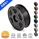 SUNLU ABS Plus Filaments for 3D Printer-Black ABS+ Filament 1.75 mm, Low Odor, Dimensional Accuracy +/- 0.02 mm 3D Printing Filament,2.2 LBS (1KG) Spool,Black