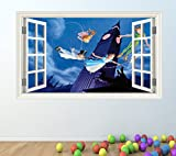 PETER PAN FULL COLOUR WALL STICKER - GIRLS BOYS DISNEY BEDROOM C209 Size: Large