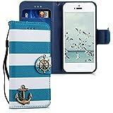 kwmobile Hülle für Apple iPhone SE / 5 / 5S - Wallet Case Handy Schutzhülle Kunstleder - Handycover Klapphülle mit Kartenfach und Ständer Anker Design Blau Weiß