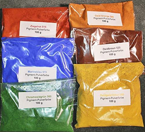 Pigmente, Eisenoxid, 6 verschiedene Farbtöne je 100g (€ 2,80/100g)