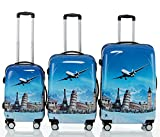 Polycarbonat Hartschale Koffer 2060 Trolley Reisekoffer Reisekofferset Beutycase 3er oder 4er Set in 7 Motiven (Flug(3er Set))