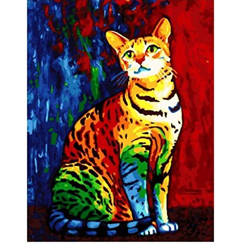 CYKEJISD Regenbogen Katze DIY Ölgemälde Durch Zahlen Tiere Wanddekor Leinwand Bild Für Wohnzimmer Modular Farbton Farbe Nach Zahlen Handwerk