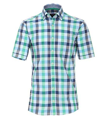 Casa Moda - Comfort Fit - Herren Freizeit 1/2-Arm-Hemd mit Karo Muster und Button Down Kragen (972756500) Grün (301)