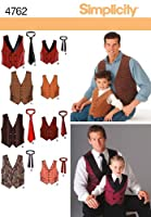 Simplicity Sewing Pattern 4762 A Boys and Men Vests and Ties