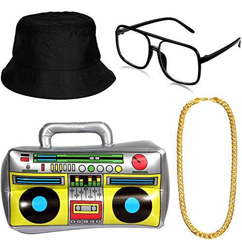 meekoo Hip Hop Kostüm Kit, Aufblasbare Boom Box Eimer Hut Sonnenbrille Gold Kette 80er/ 90er Rapper Zubehör (Schwarz)