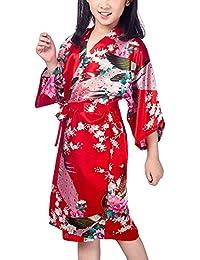 Hammia Niños Niñas Kimono Seda Flores Satén Kimono Peacock Albornoces Pijamas para los Niños Vestido para la Boda del cumpleaños del Partido